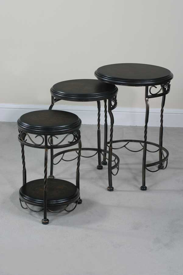 Cheap Ultimate Accents Emerson Iron Base Round Nest Tables