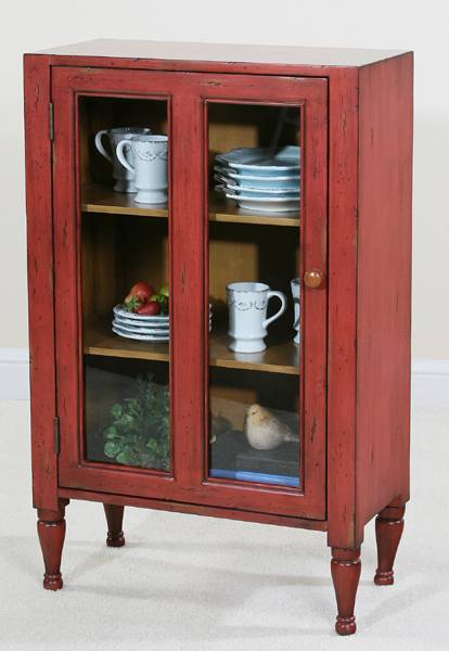 Ultimate Accents Keeping Room Red Glass Door Cupboard 46463cb