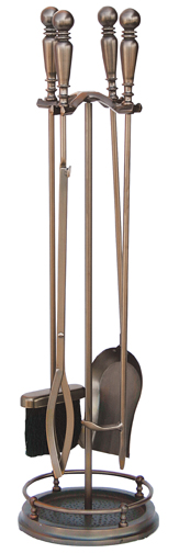 UniFlame 5 Pieces Venetian Brozne Fireset with Ball Handles - Uniflame