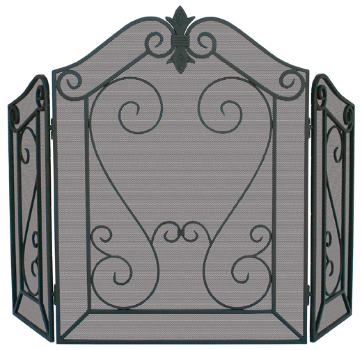 UniFlame 3 Panel Arched Black Screen W/Decorative Scroll - Uniflame