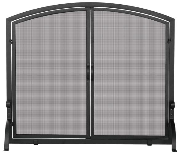 UniFlame Medium Black Panel Screen with Doors - Uniflame