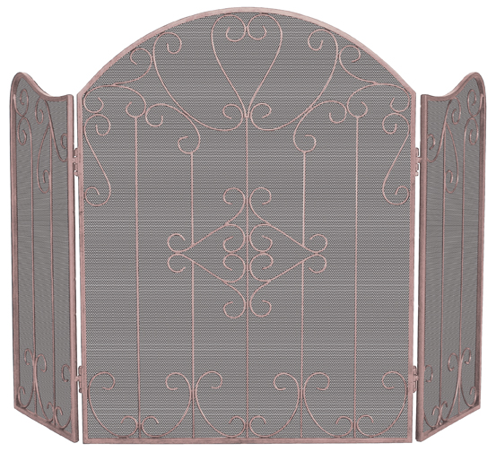 UniFlame Ornate 3 Fold Screen - Copper - Uniflame