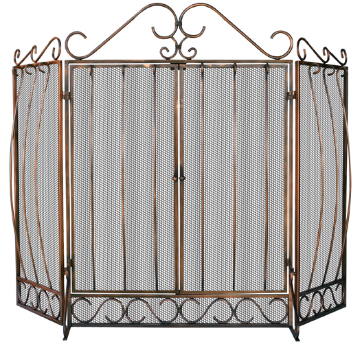 UniFlame Venetian Bronze 3 Fold Screen with Bowed Bar Scrollwork - Uniflame