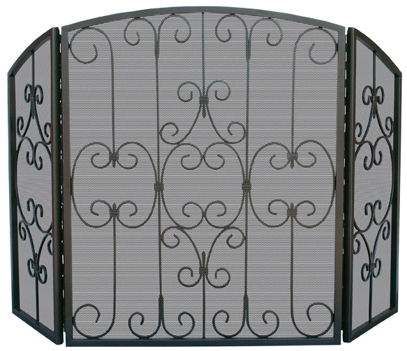 UniFlame Graphite 3 Fold Screen with Decorative Scrollwork - Uniflame S-1981
