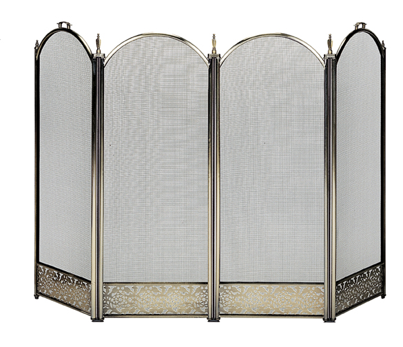 UniFlame Antique Brass 4 Fold Screen with Decorative Filigree - Uniflame S-4645