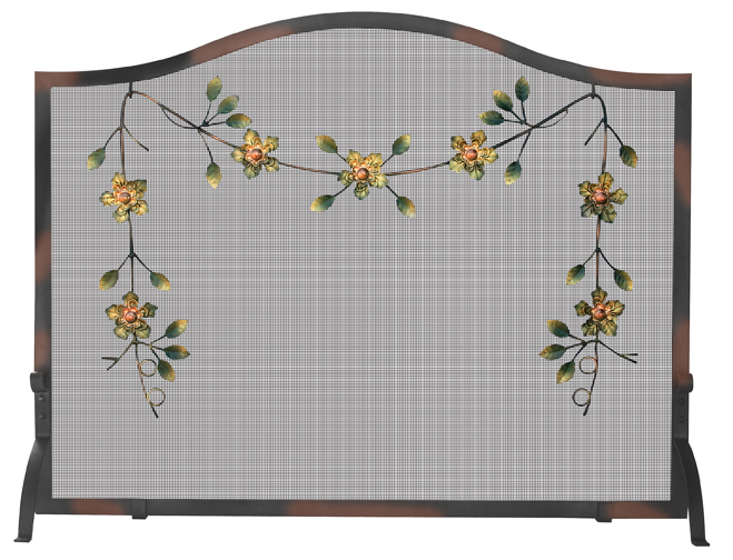 UniFlame Burnish Broze Screen with Decorative Flowers - Uniflame S-6225