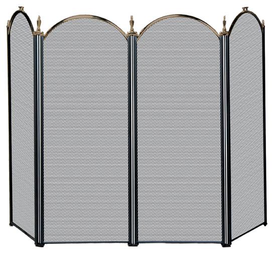 UniFlame 3 Fold Black Arch Top Screen with Doors - Uniflame
