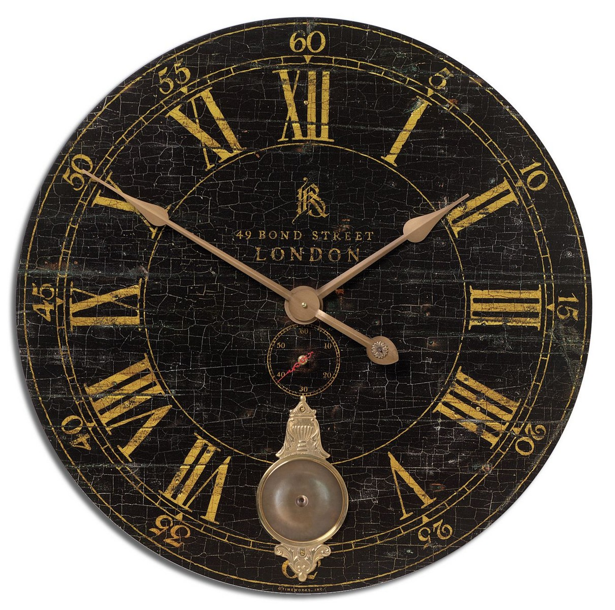 Uttermost Bond Street 30 Black Wall Clock