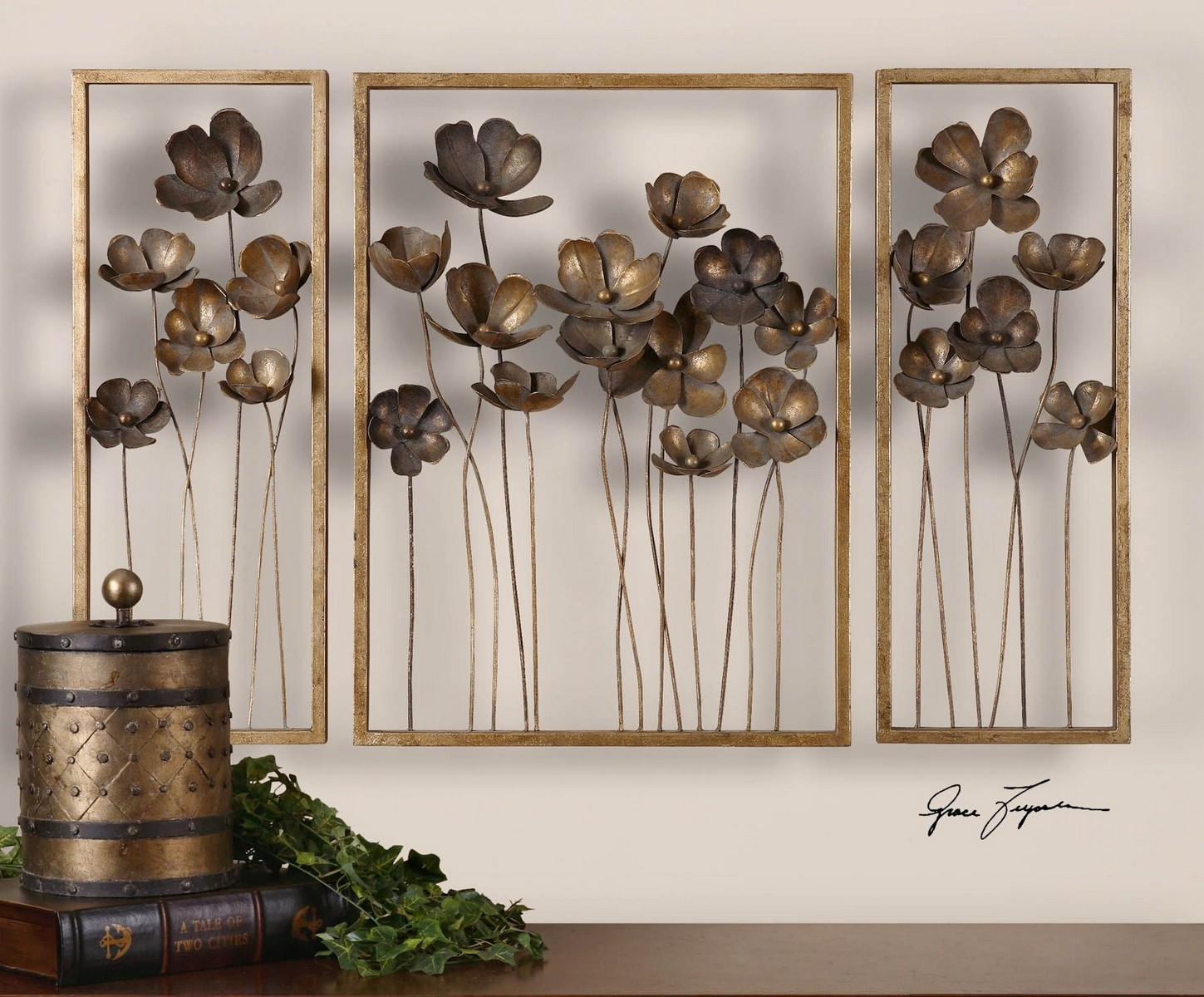 Uttermost Metal Tulips Wall Art - Set of 3