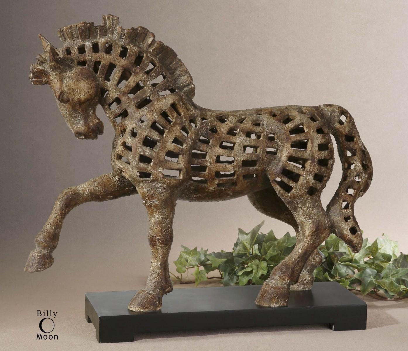 Uttermost Prancing Horse Antique Sculpture