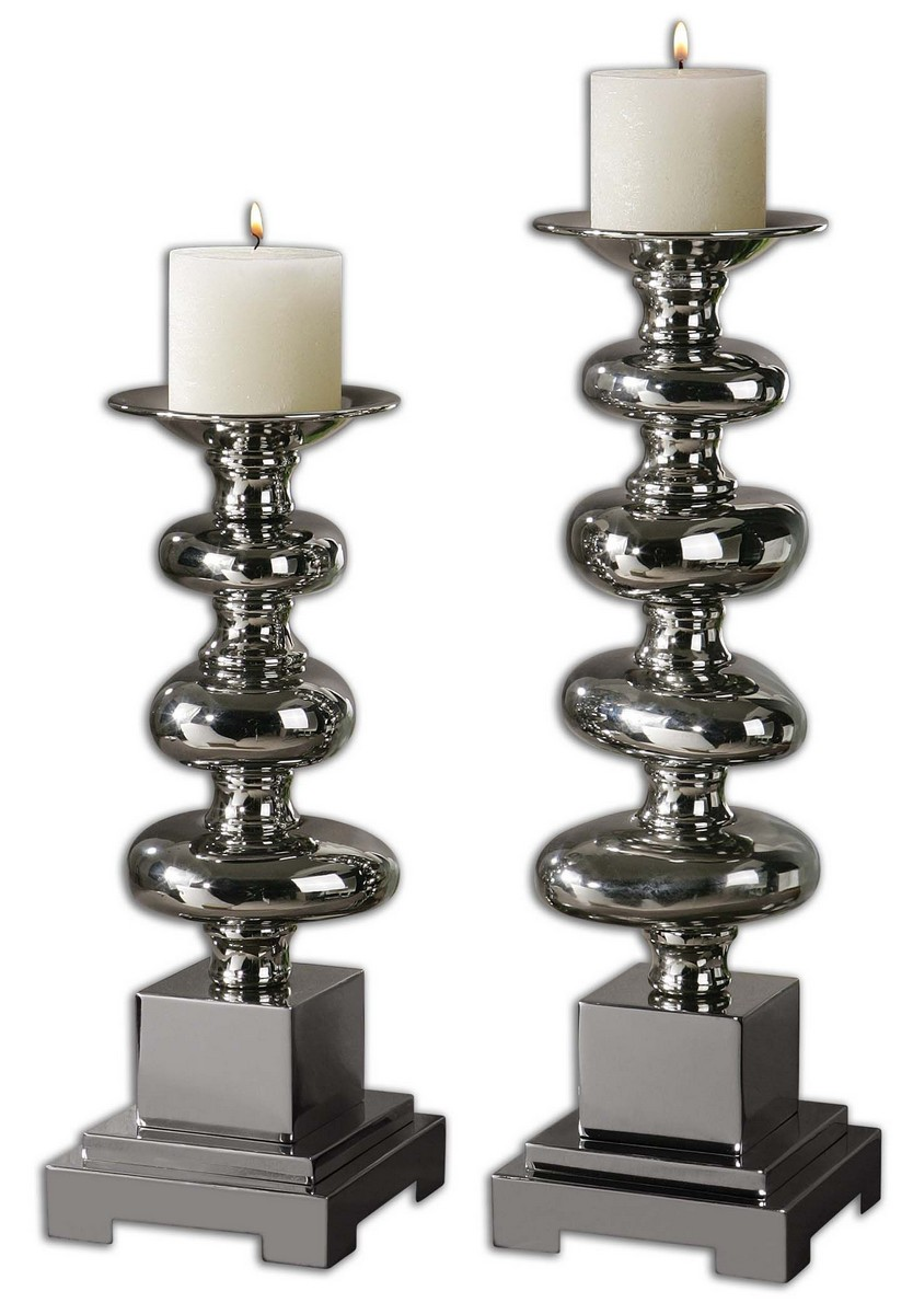 Uttermost Anoka Nickel Candleholders - Set of 2 19768