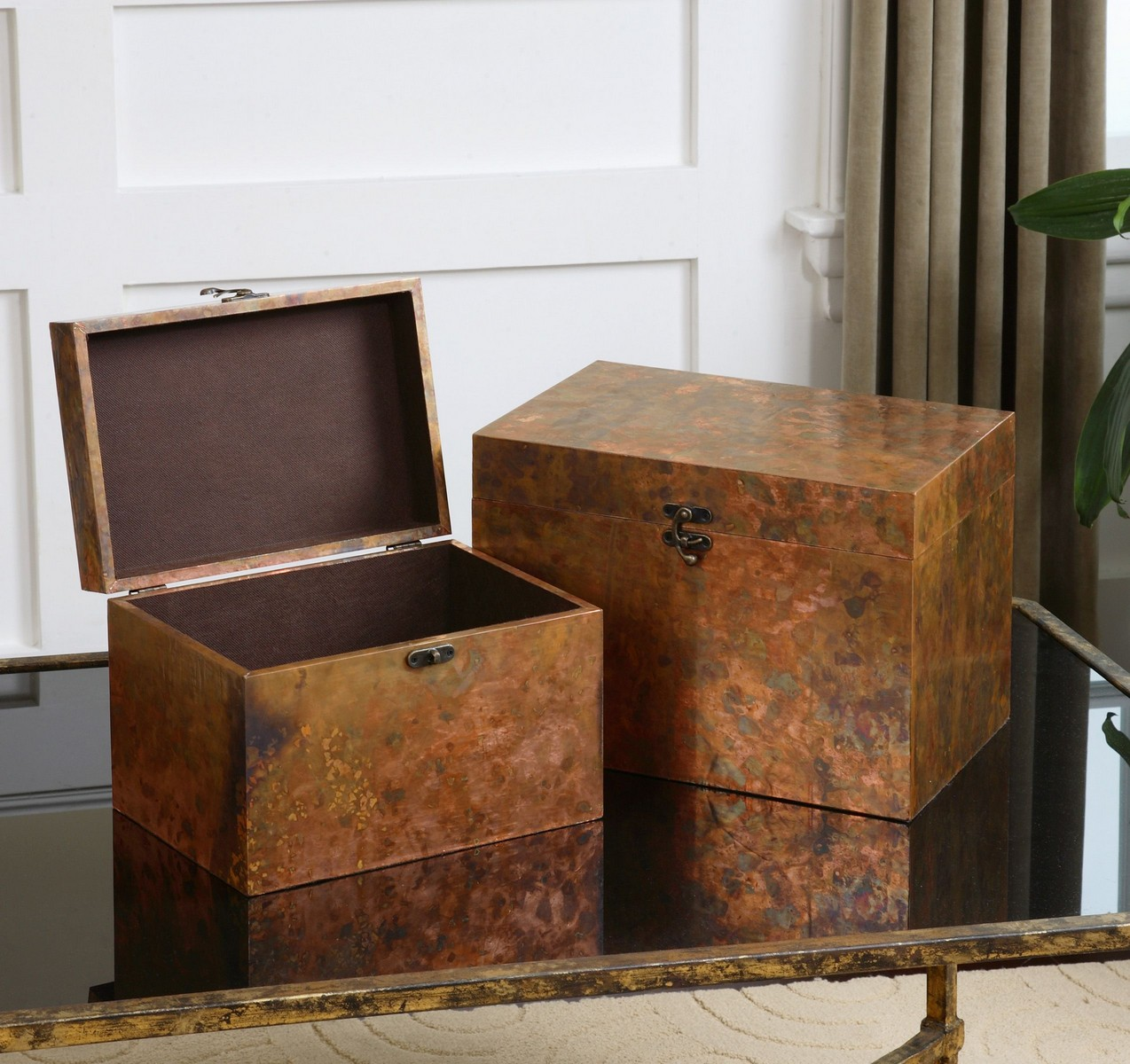 Uttermost Ambrosia Copper Boxes - Set of 2