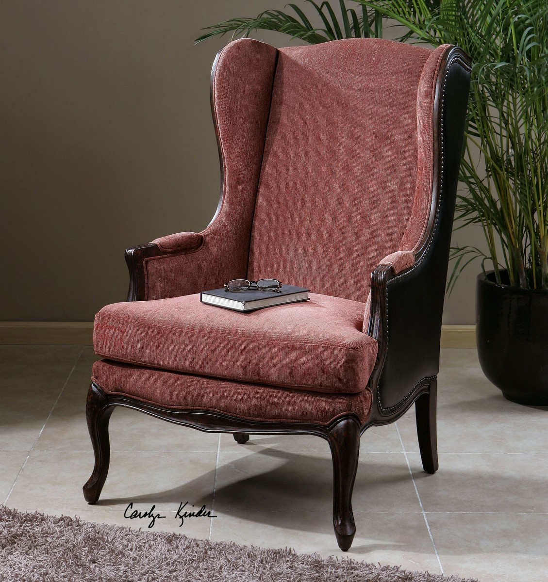 Uttermost Skipton Leather Wing Chair Uttermost 23153 At