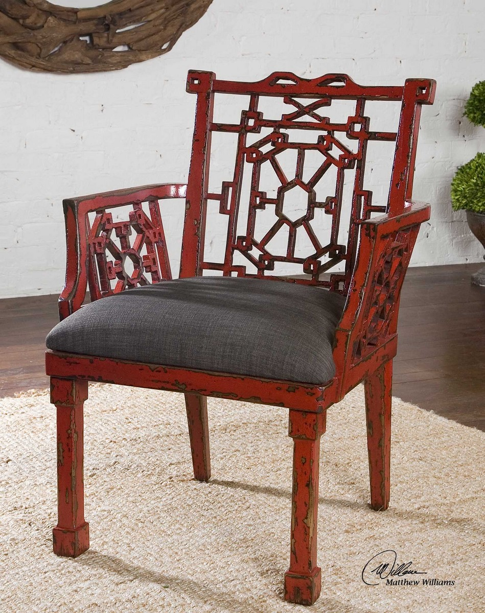 Uttermost Camdon Red Armchair