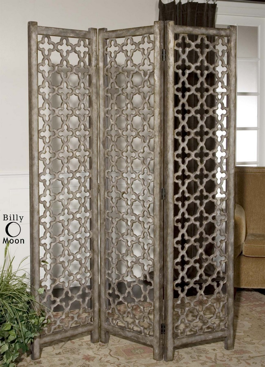 Uttermost Quatrefoil Burnished Floor Screen