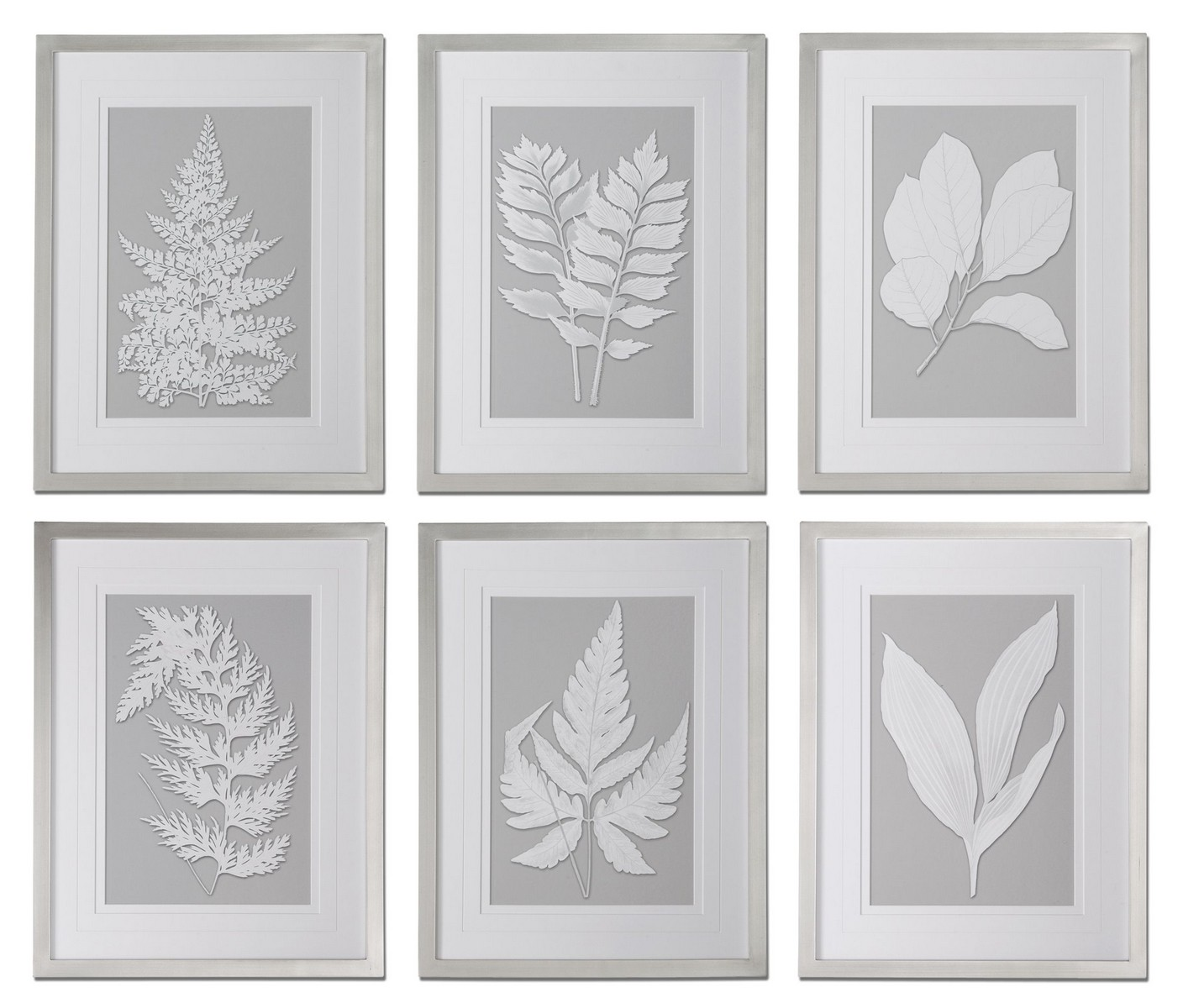 Uttermost Moonlight Ferns Framed Art - Set of 6 41394