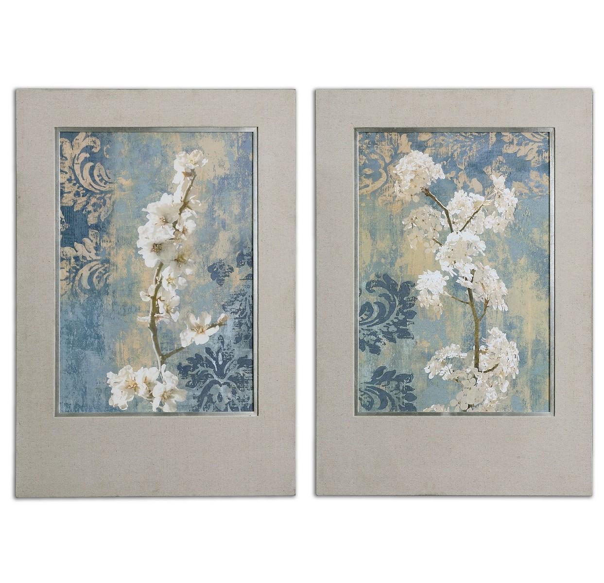 Wall Art Decor Sets: Uttermost Blossoms Framed Art