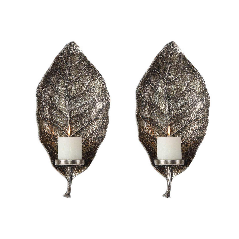 Uttermost Zelkova Leaf Wall Sconces - Set of 2