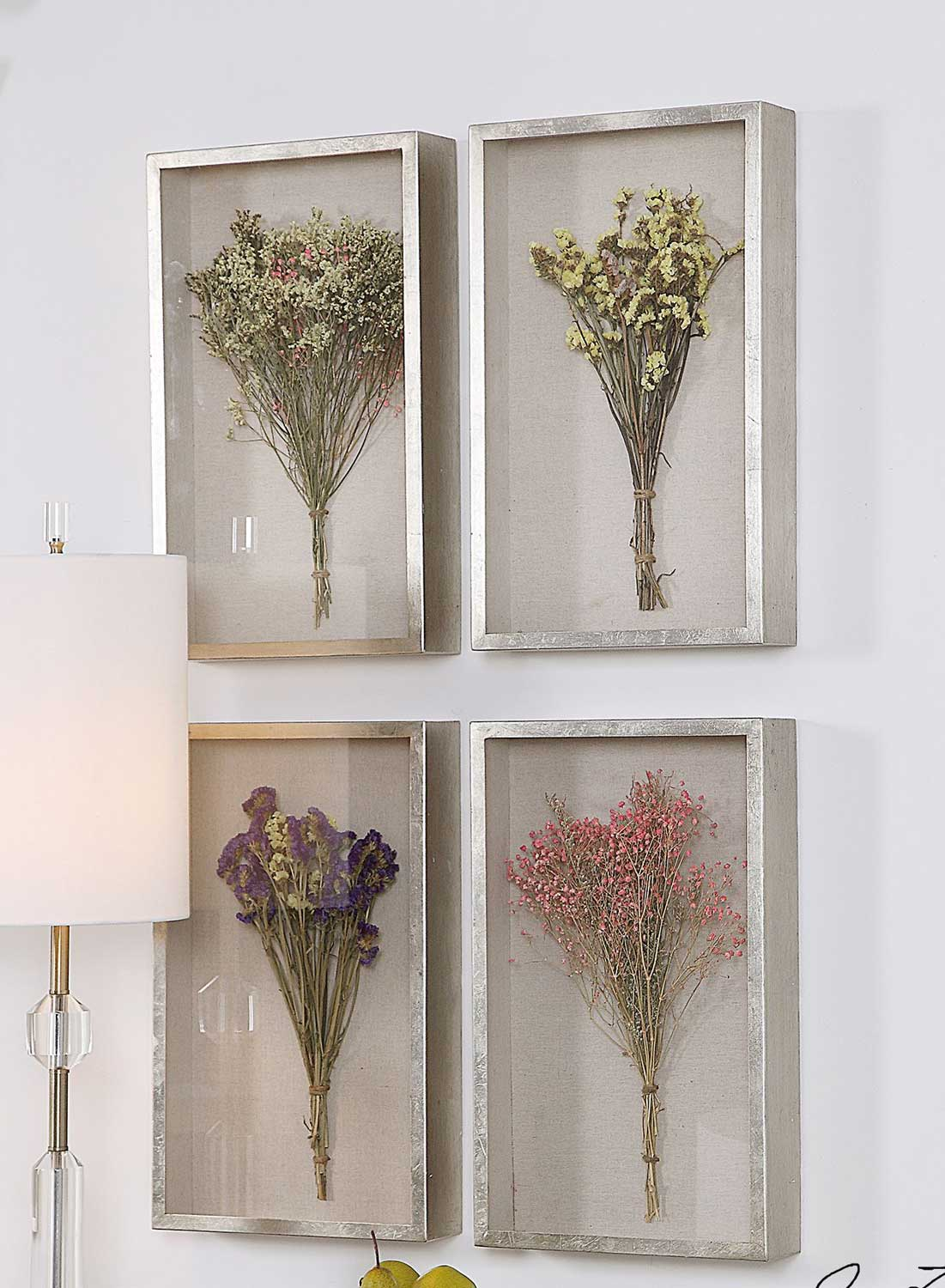 Uttermost Summer Bouquets Shadow Box - Set of 4