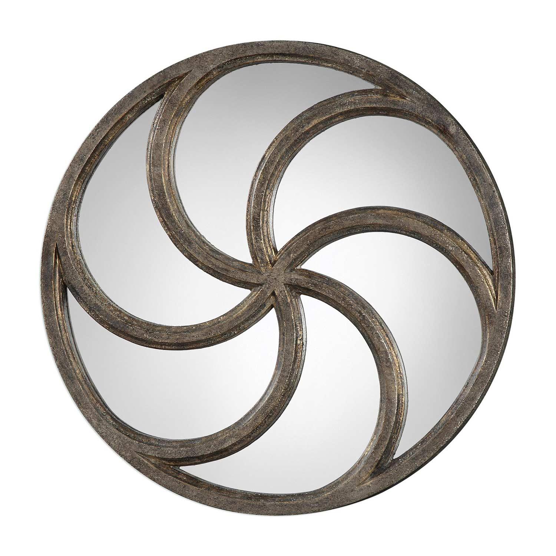 Uttermost Spiralis Antiqued Round Mirror - Silver