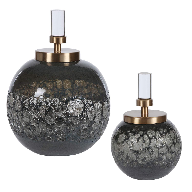 Cessair Art Glass Bottles - Set of 2
