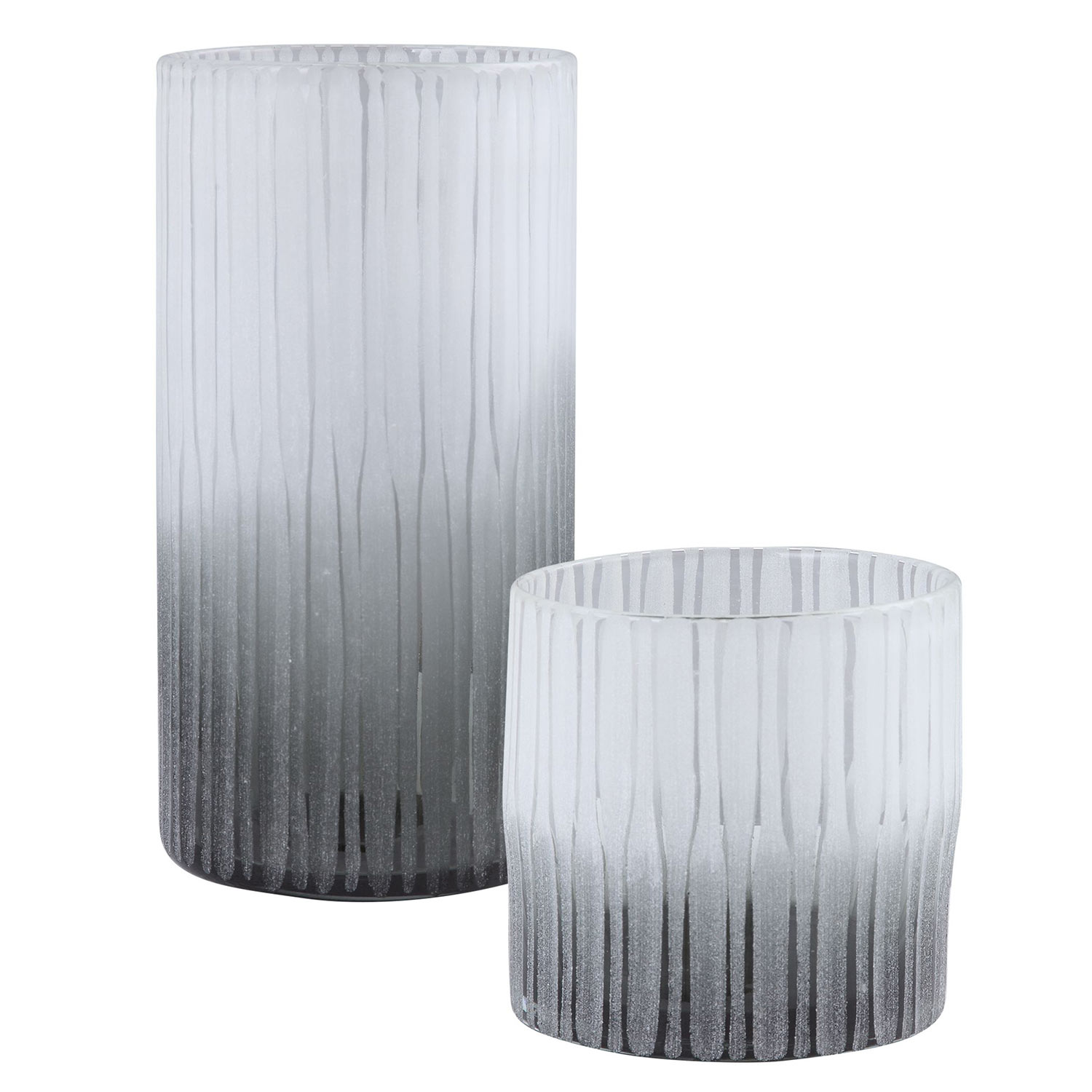 Uttermost Como Etched Glass Vases - Set of 2