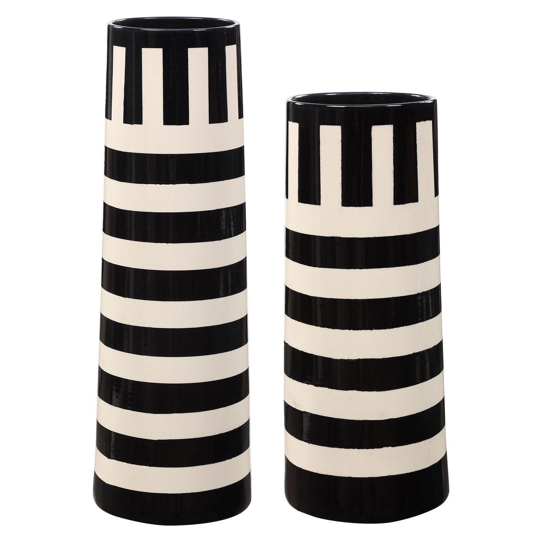 Uttermost Amhara Vases - Set of 2 - Black/White