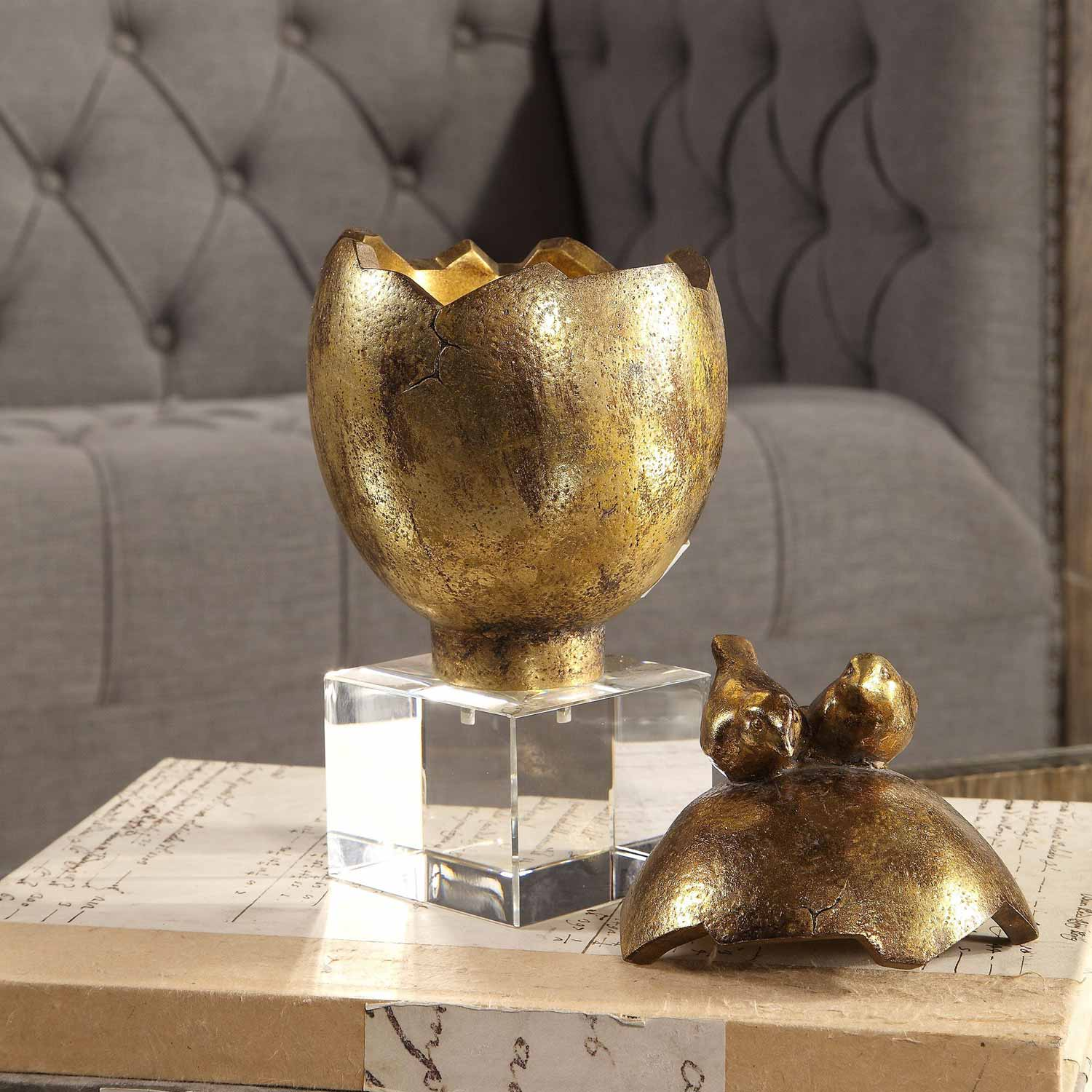 Uttermost Hatched Egg Box - Gold