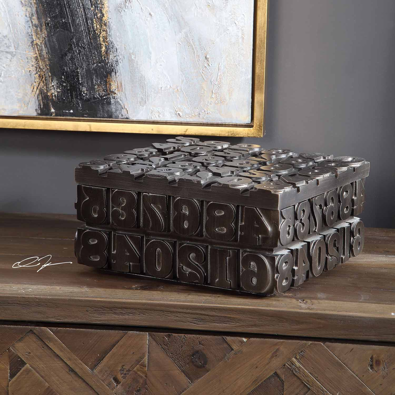 Uttermost Typesetting Decorative Box - Bronze