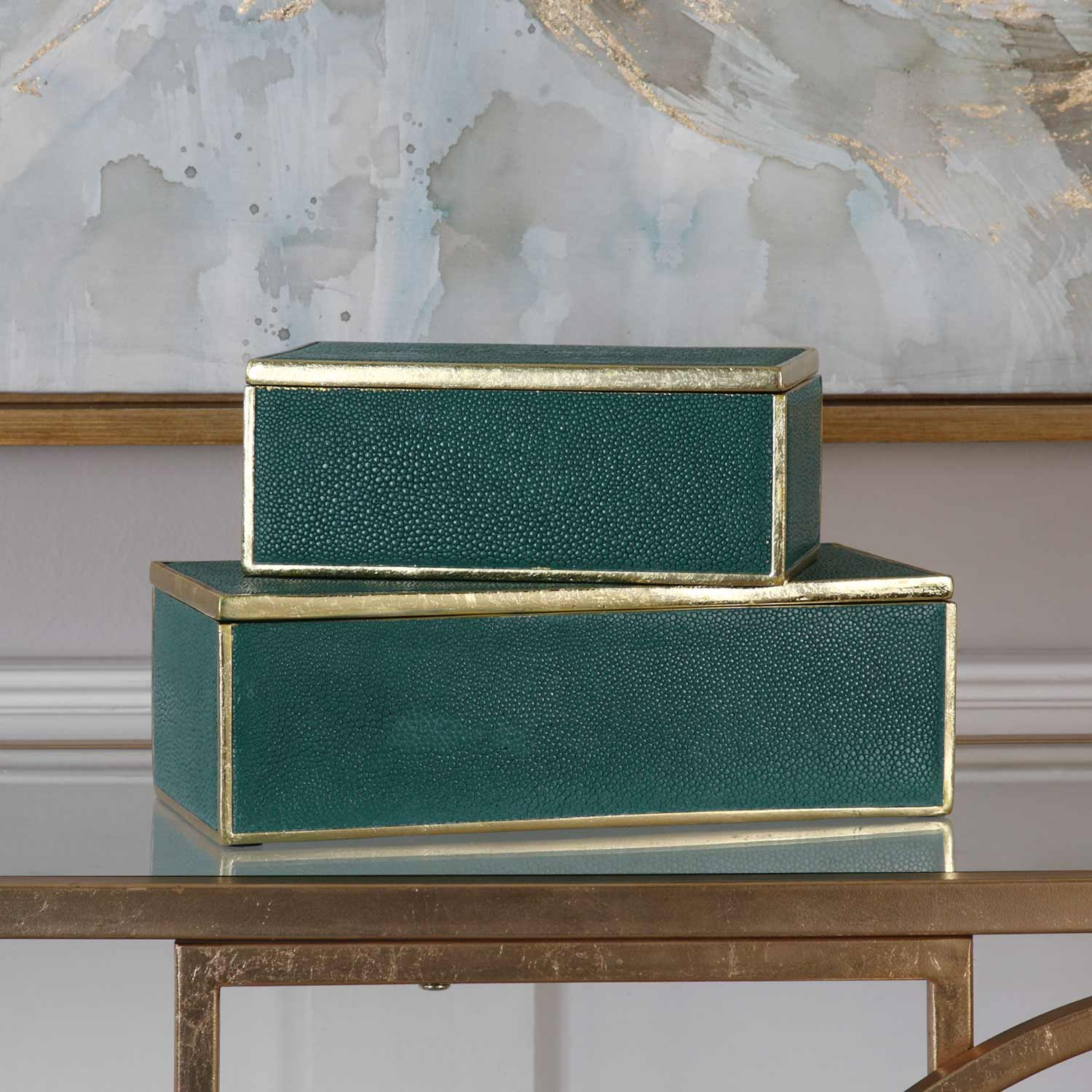 Uttermost Karis Emerald Green Boxes - Set of 2
