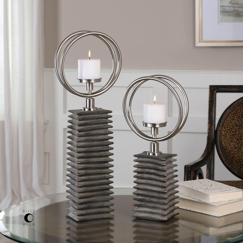 Uttermost Eugenio Black Ceramic Candleholders - Set of 2