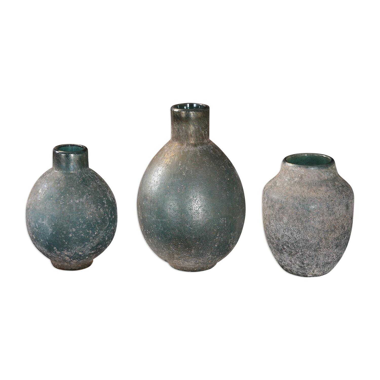 Uttermost Mercede Weathered Blue-Green Vases - Set of 3