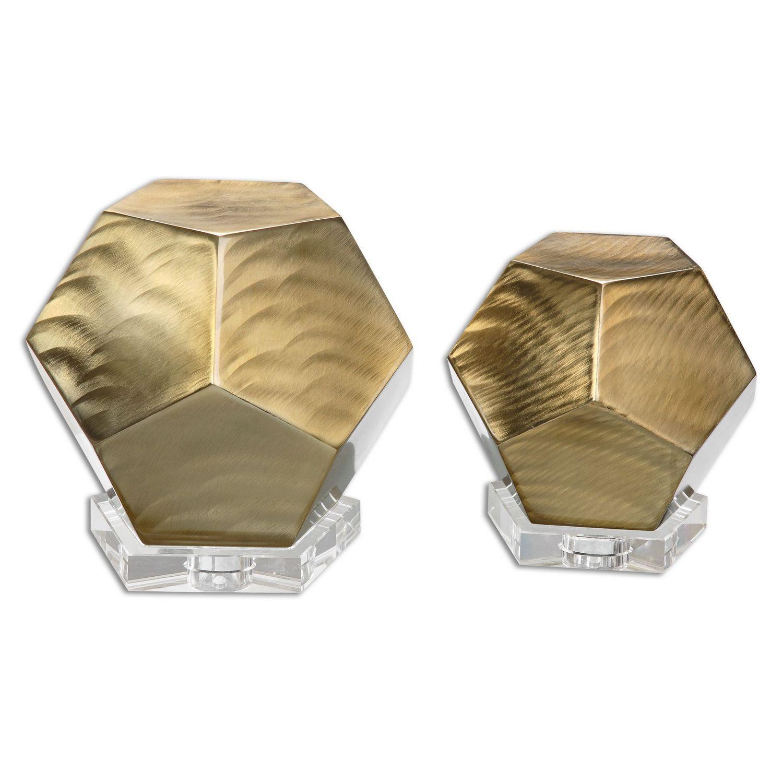 Uttermost Pentagon Cubes - Set of 2 - Coffee Bronze