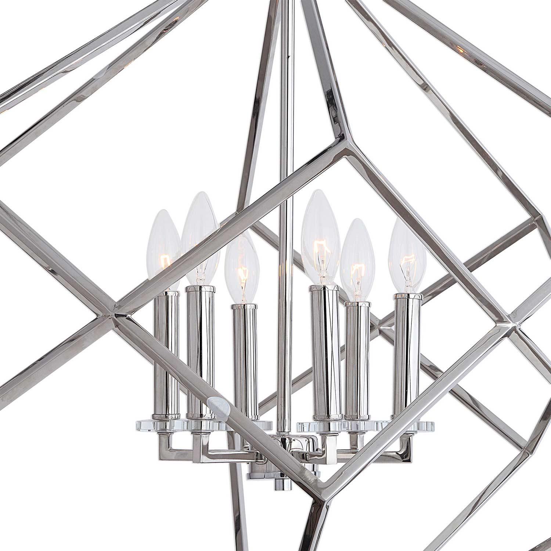 Uttermost Euclid 6-Light Cube Pendant - Nickel