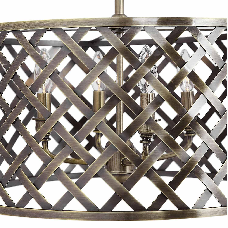 Uttermost Grata 4-Latticework Pendant - Light Brass