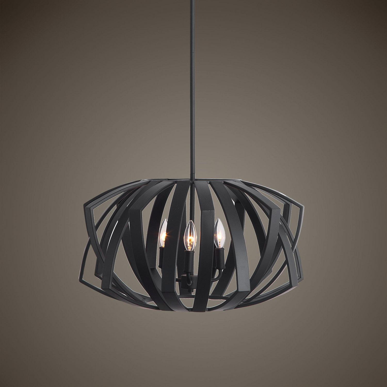 Uttermost Thales 3-Light Pendant - Black Geometric