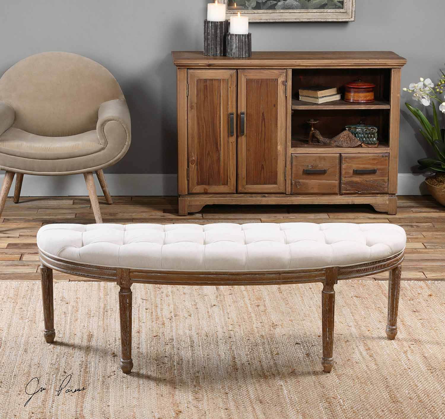 Uttermost Leggett Tufted Bench - White