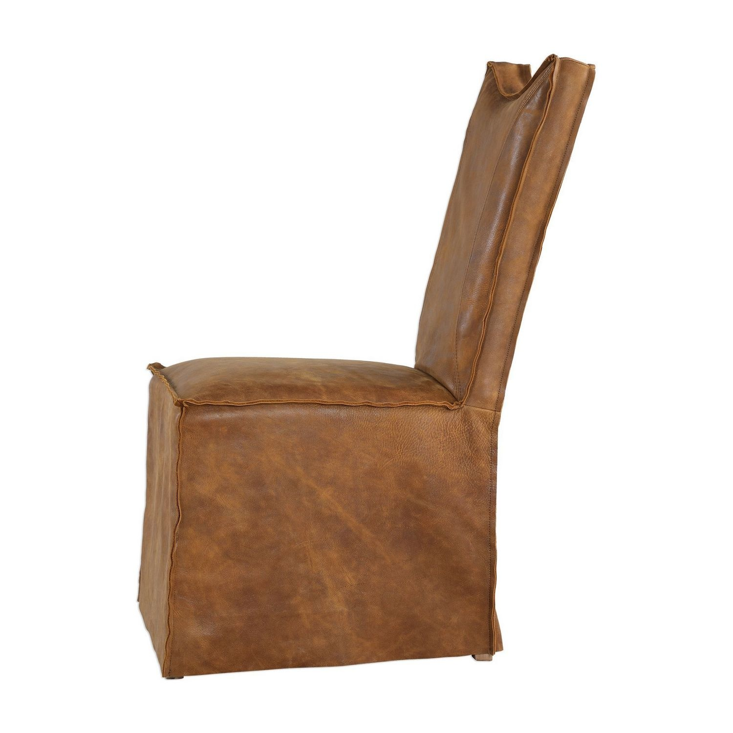 Uttermost Delroy Armless Chairs - Set of 2 - Cognac