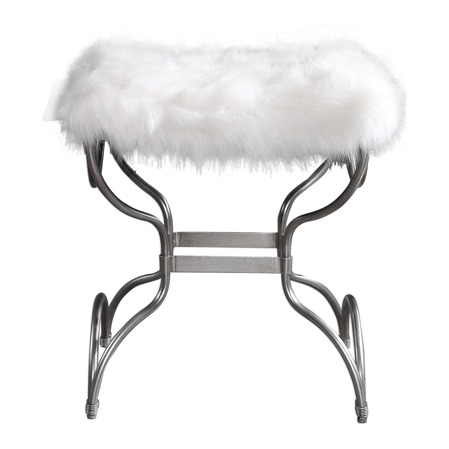 Uttermost Channon Small Bench - White Fur