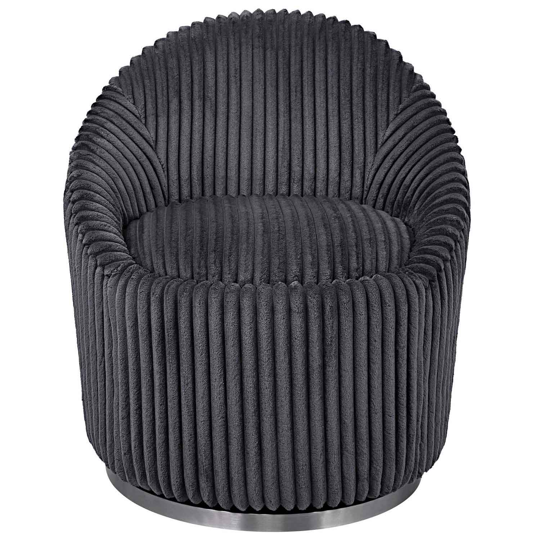 Uttermost Crue Fabric Swivel Chair - Gray