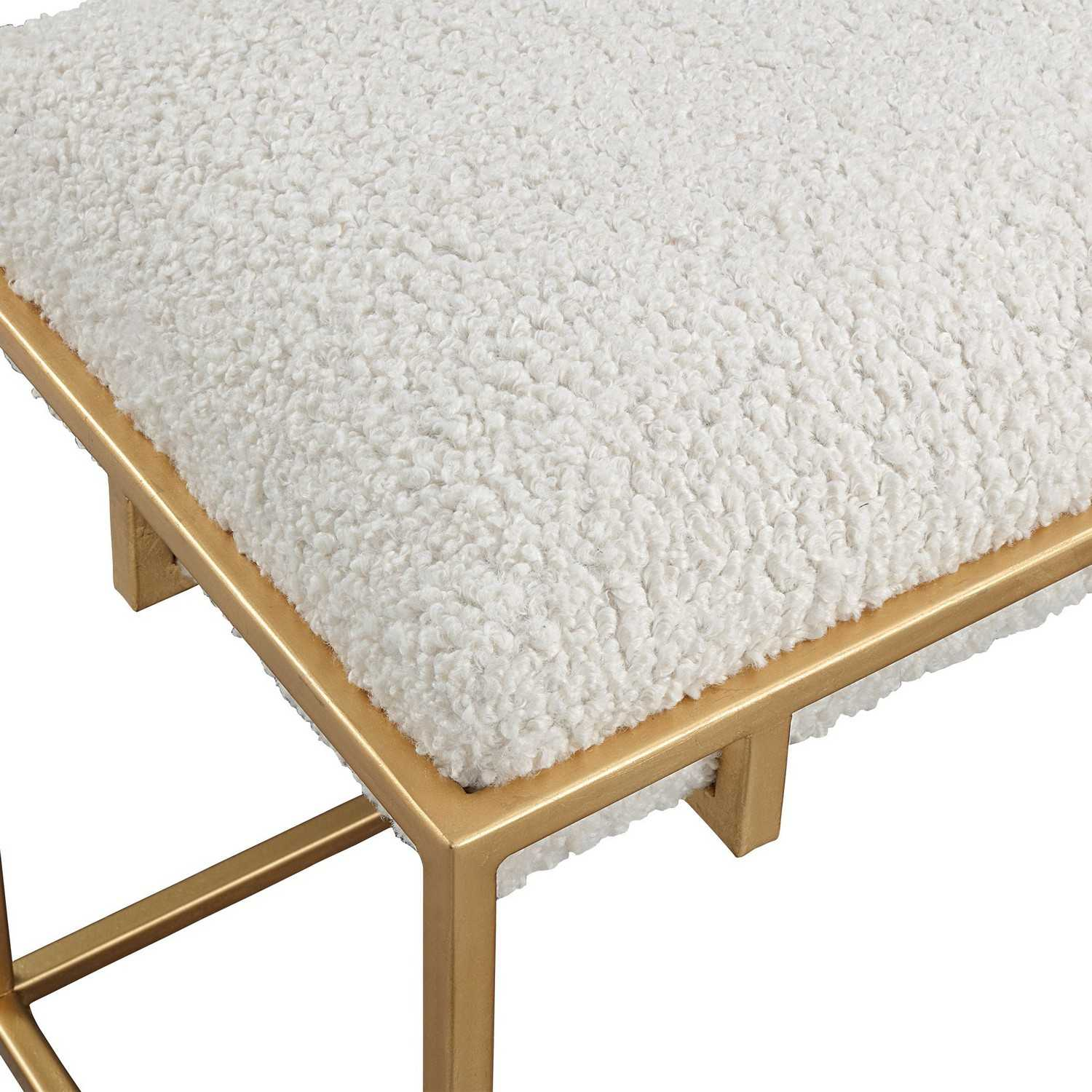 Uttermost Paradox Small Shearling Bench - Gold/White