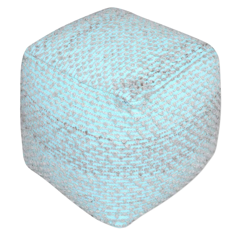 Uttermost Valda Wool Pouf - Aqua
