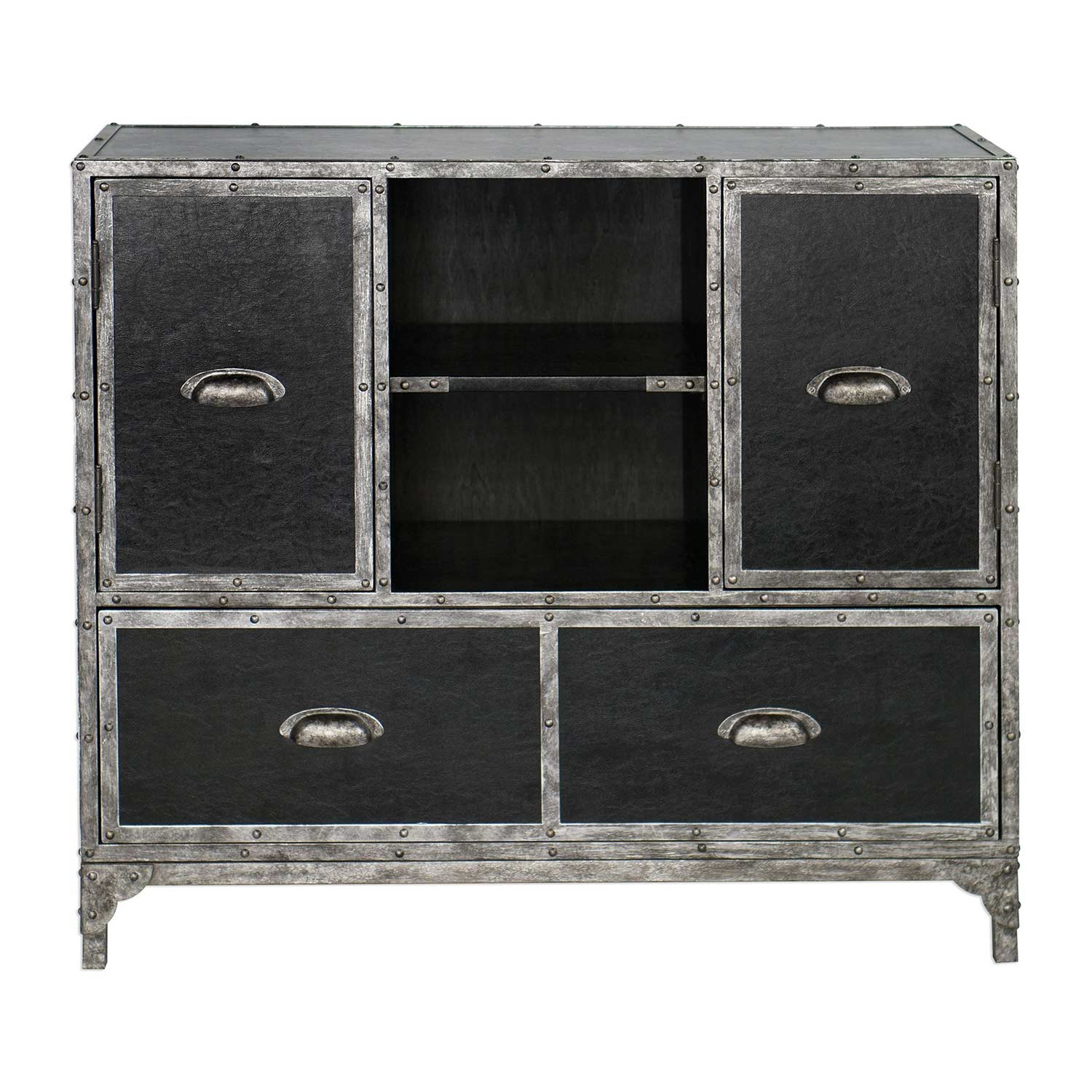 Uttermost Shawn Accent Chest - Black Leather