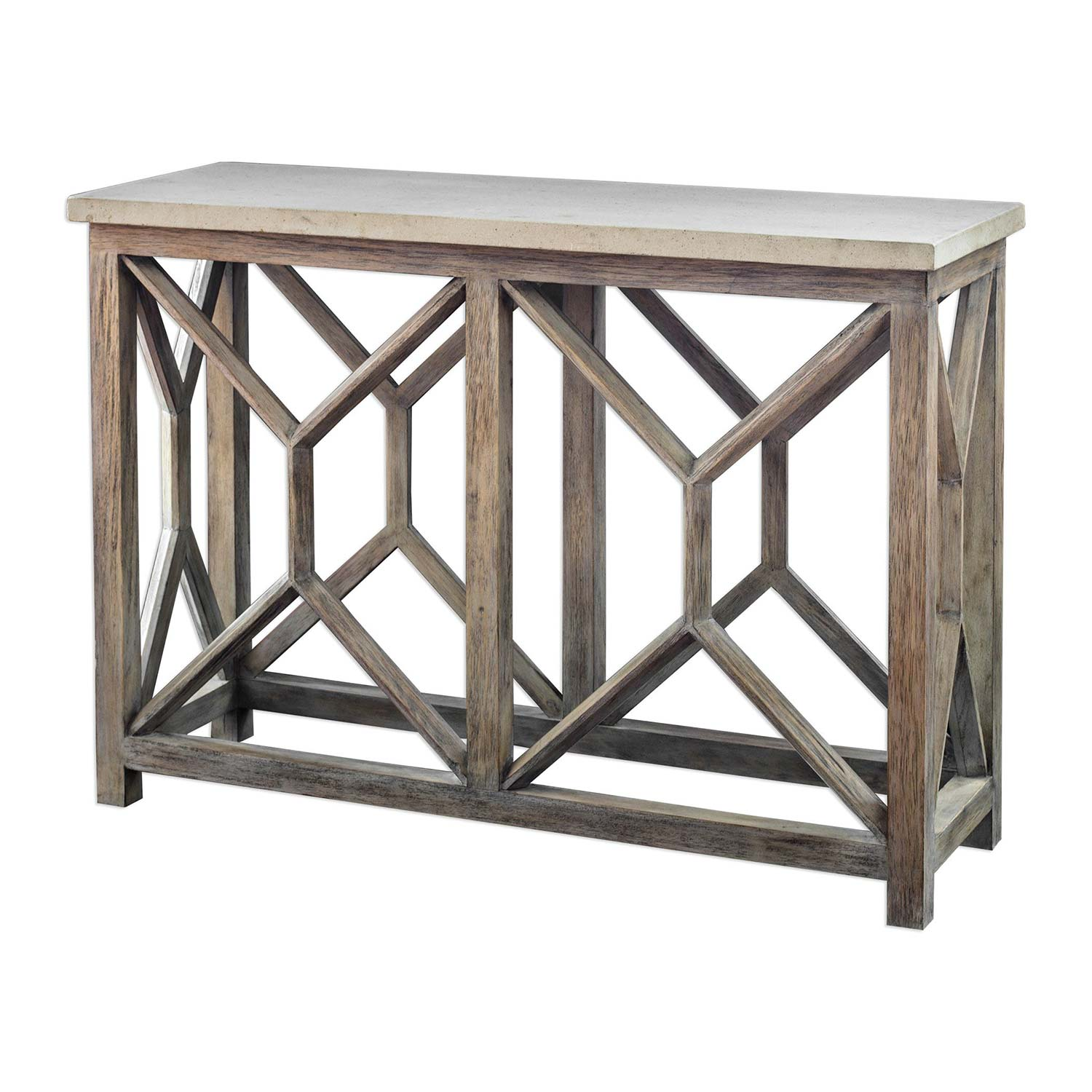 Uttermost Catali Stone Console Table   Ivory
