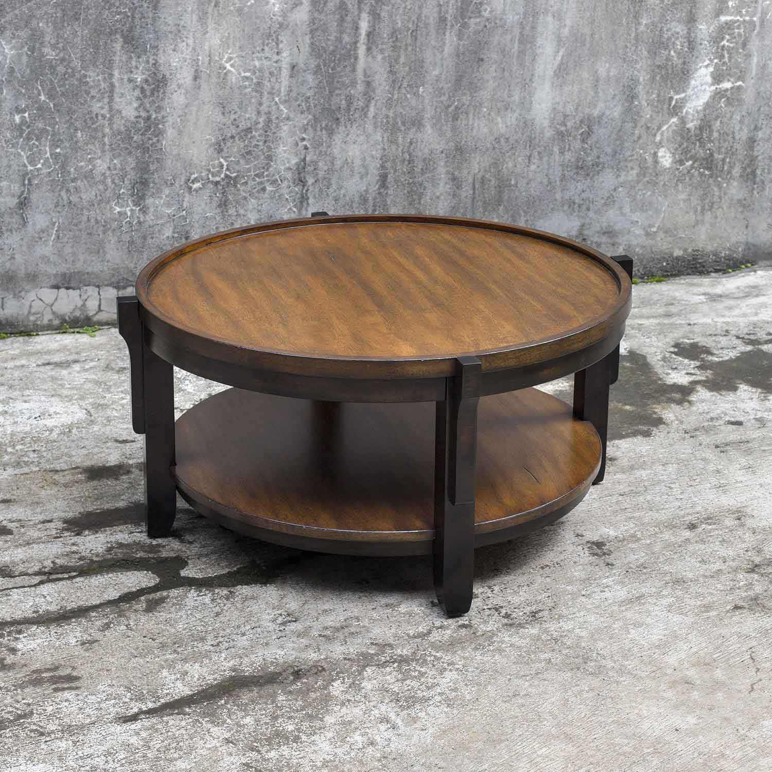 Uttermost sigmon round wooden coffee table uttermost 25819 at uttermost sigmon round wooden coffee table geotapseo Images
