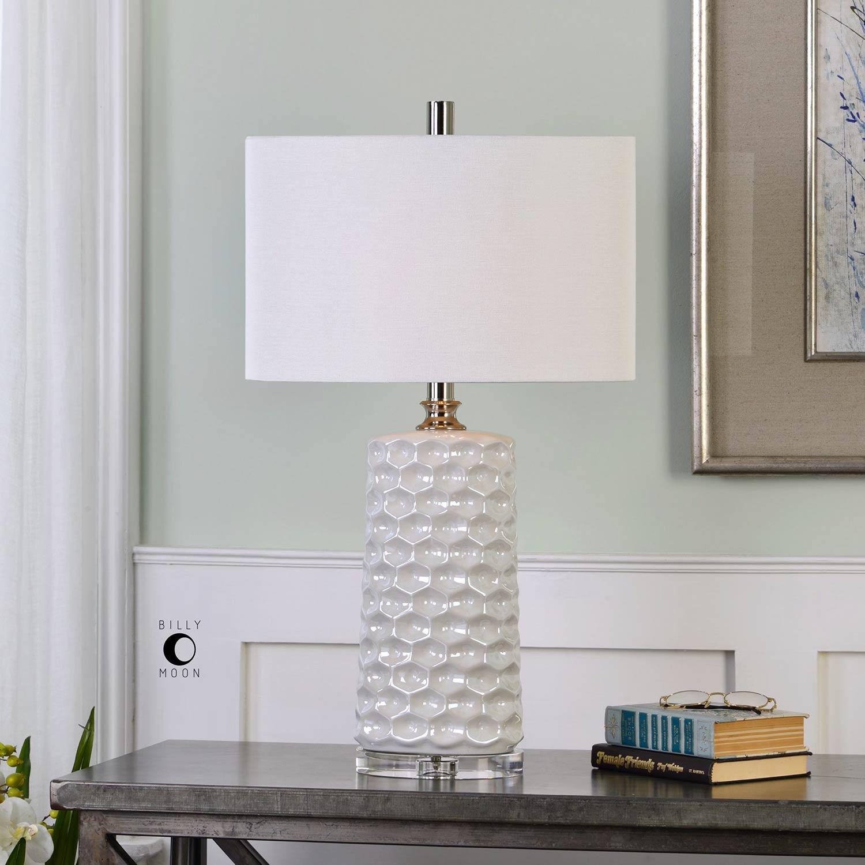 Uttermost Sesia White Honeycomb Table Lamp