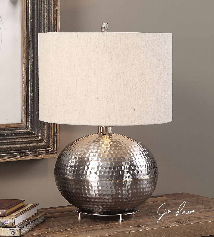 Uttermost Metis Hammered Steel Lamp