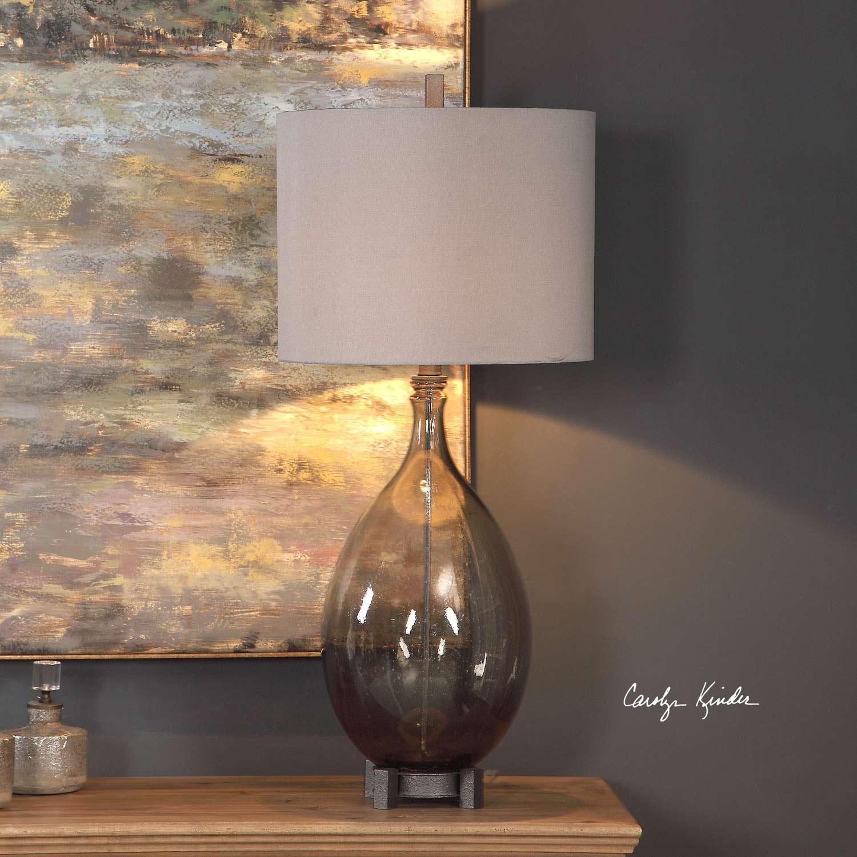 Uttermost Saimara Glass Lamp - Charcoal