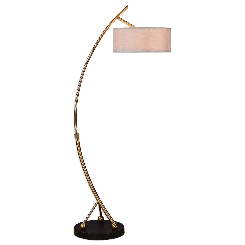 Uttermost Vardar Curved Brass Floor Lamp