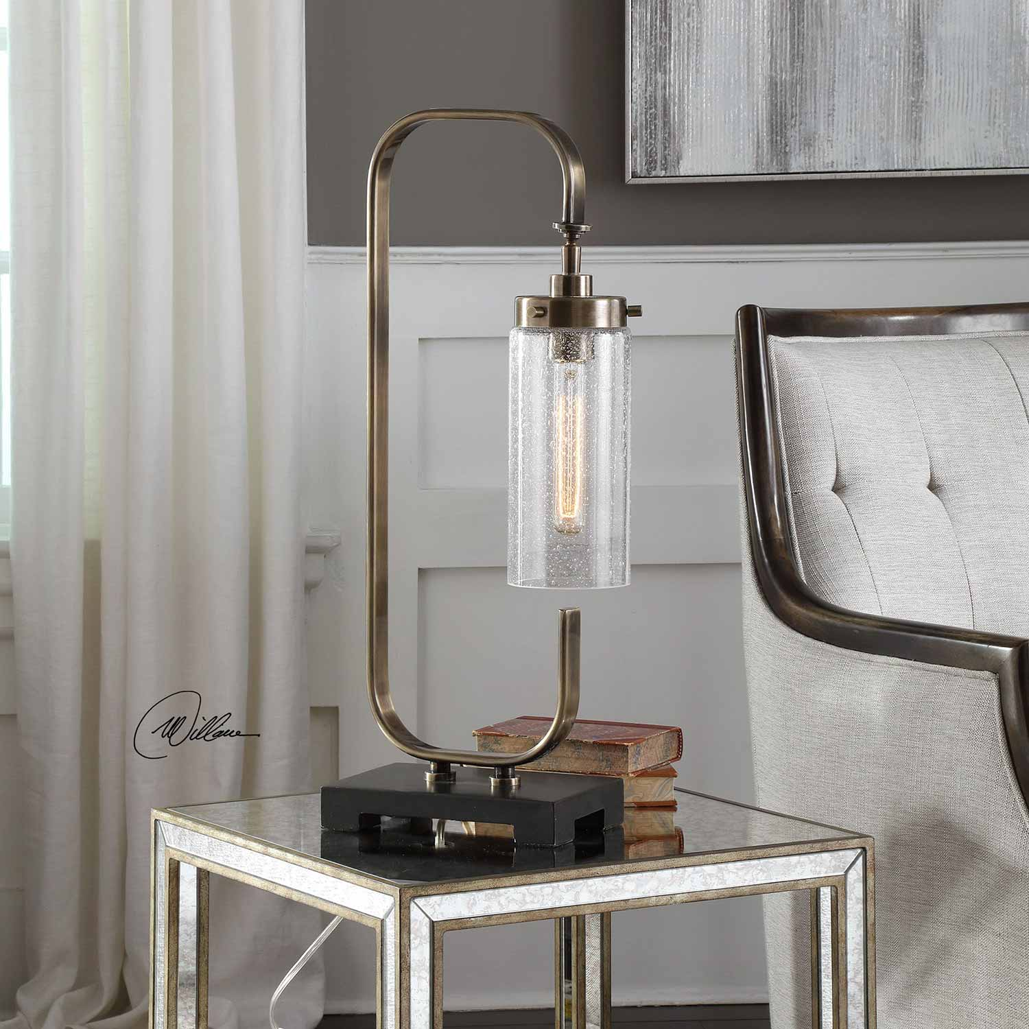 Uttermost Keltie Desk Lamp - Seeded Glass